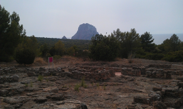 View to Es Vedra from the ruins at Ses Paises de Cala d'Hort, Ibiza