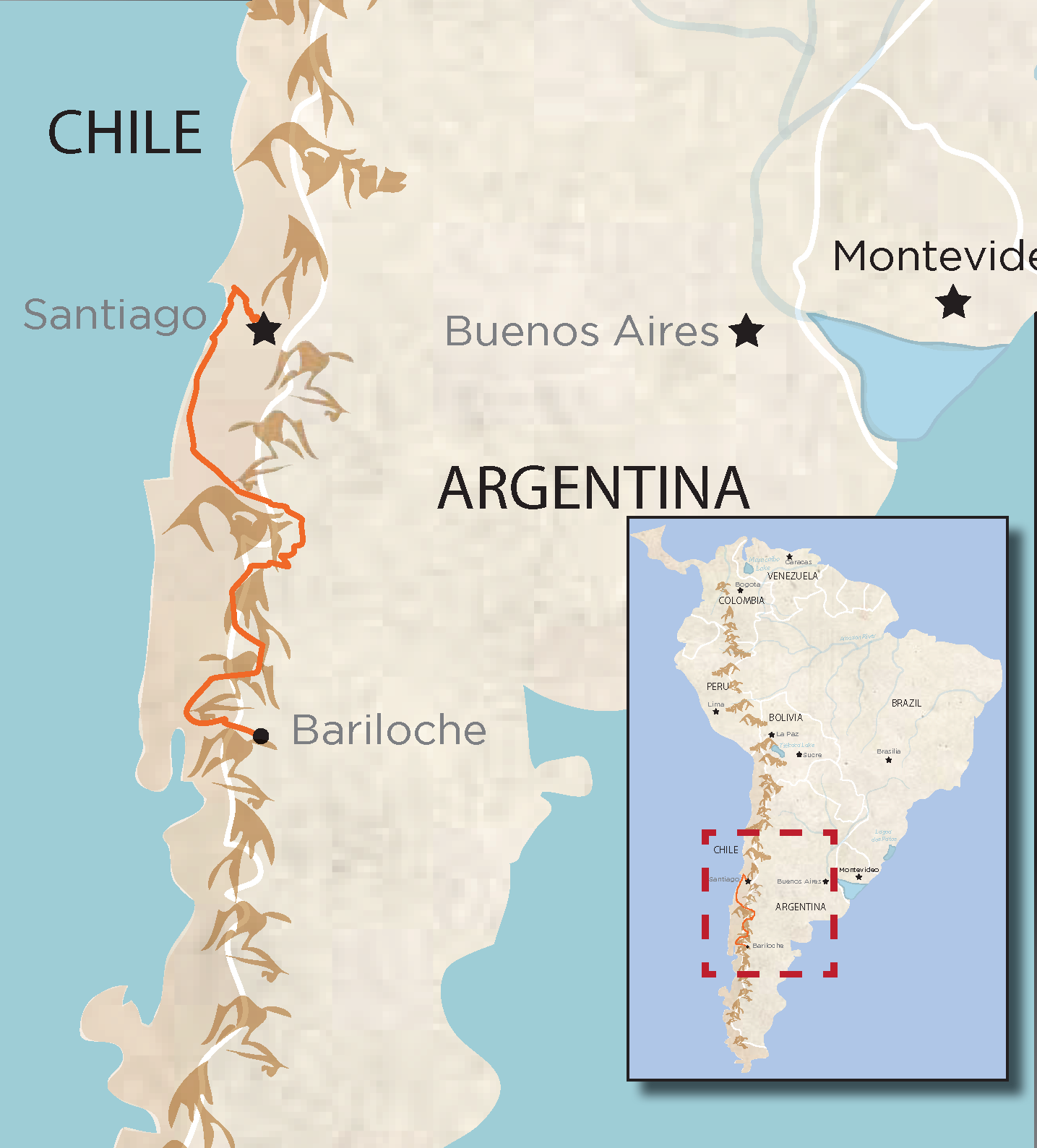 Che Bike Tour map South America Chile