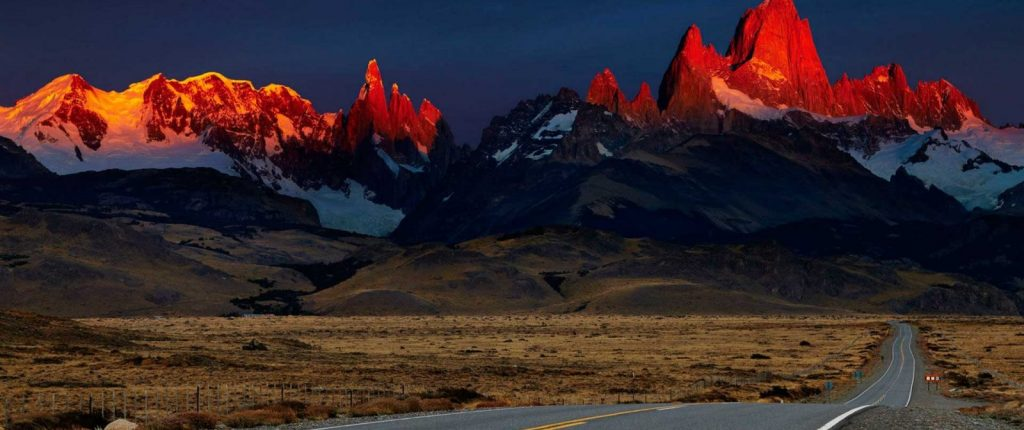 Patagonia mountains at sunset - Bike Odyssey Che Cycle Tour